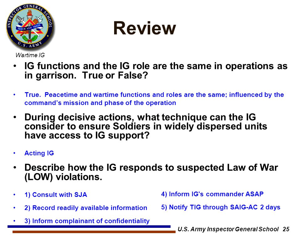 U.S. Army Inspector General School 25
