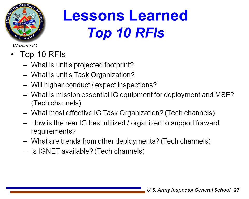 Lessons Learned Top 10 RFIs