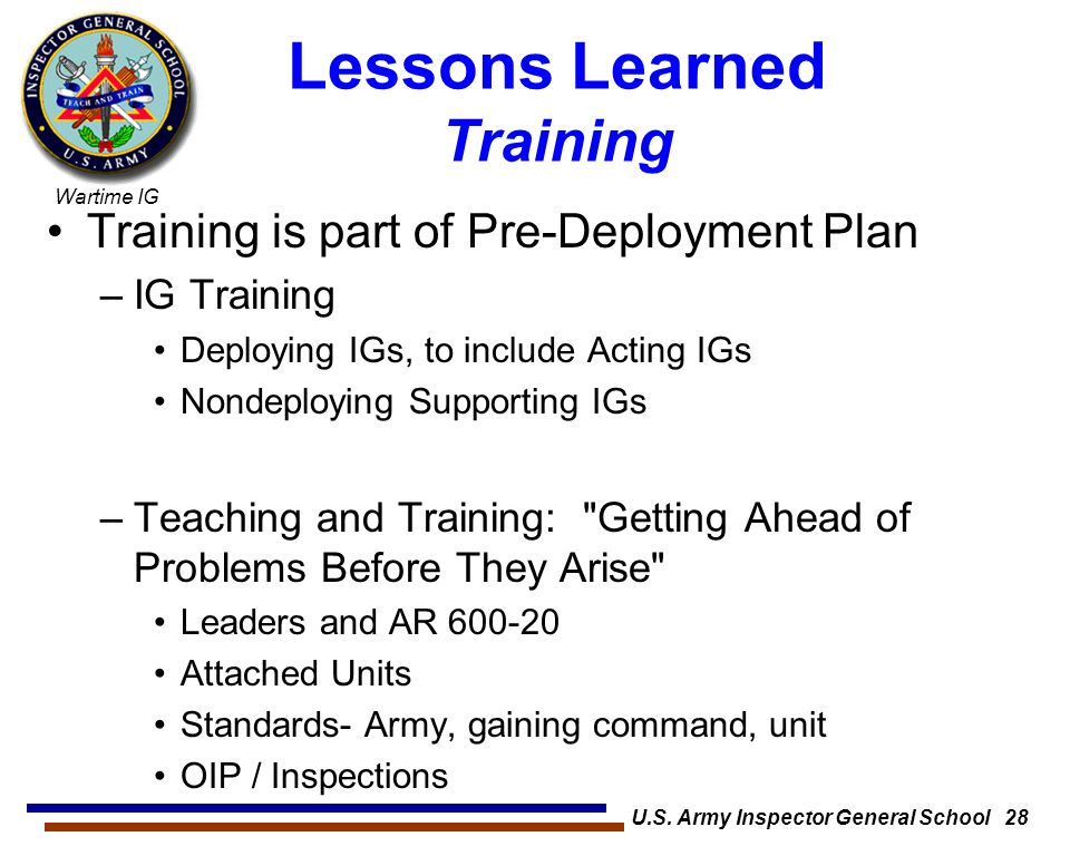 Lessons Learned Training