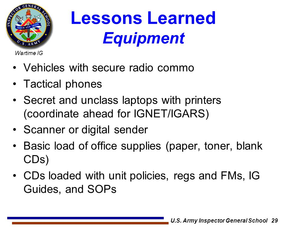 Lessons Learned Equipment