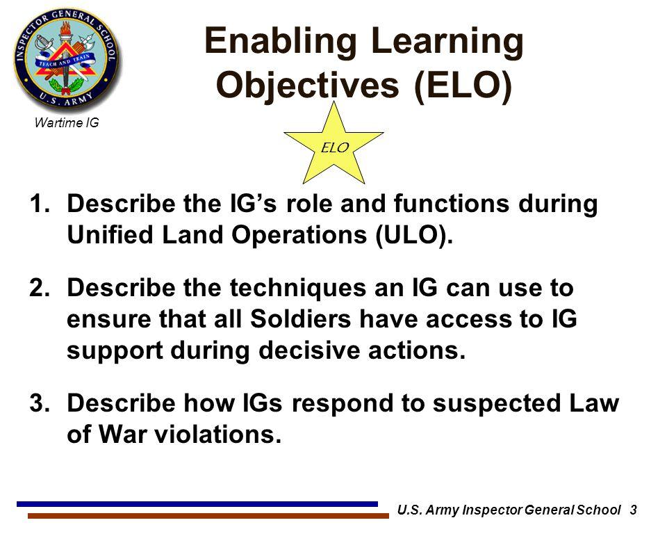 Enabling Learning Objectives (ELO)