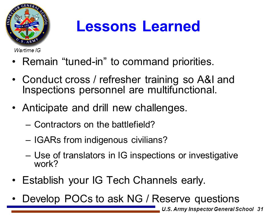 U.S. Army Inspector General School 31
