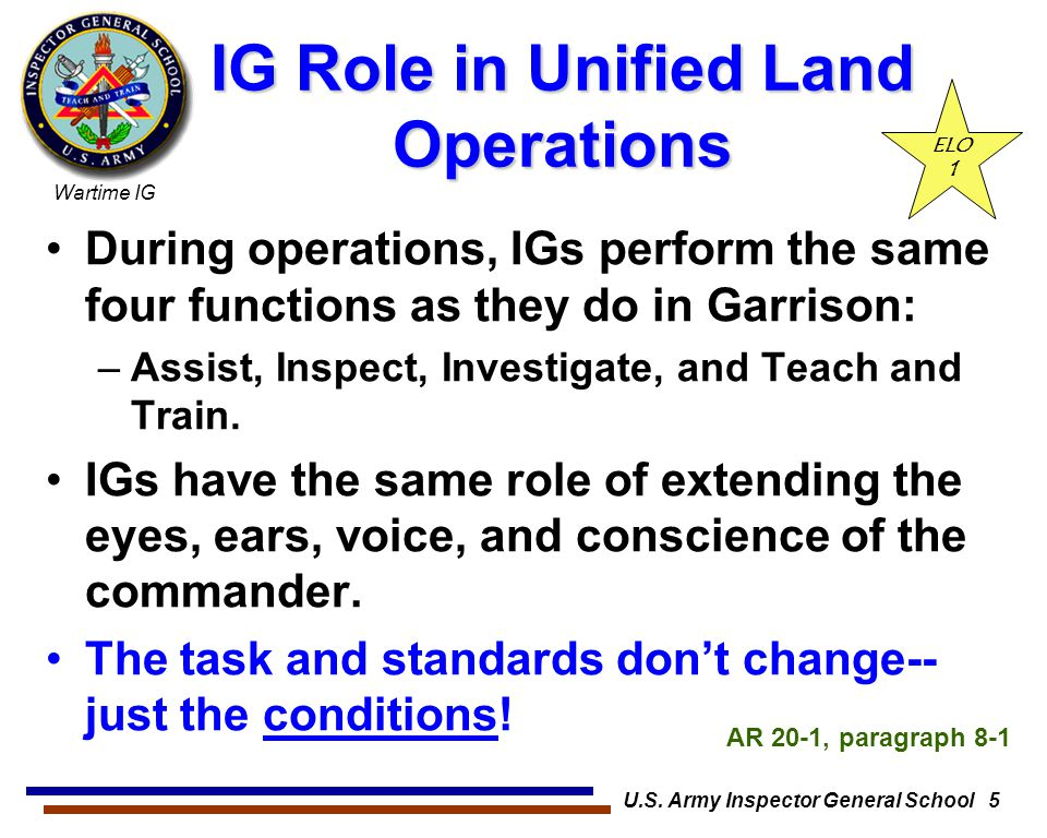 IG Role in Unified Land Operations