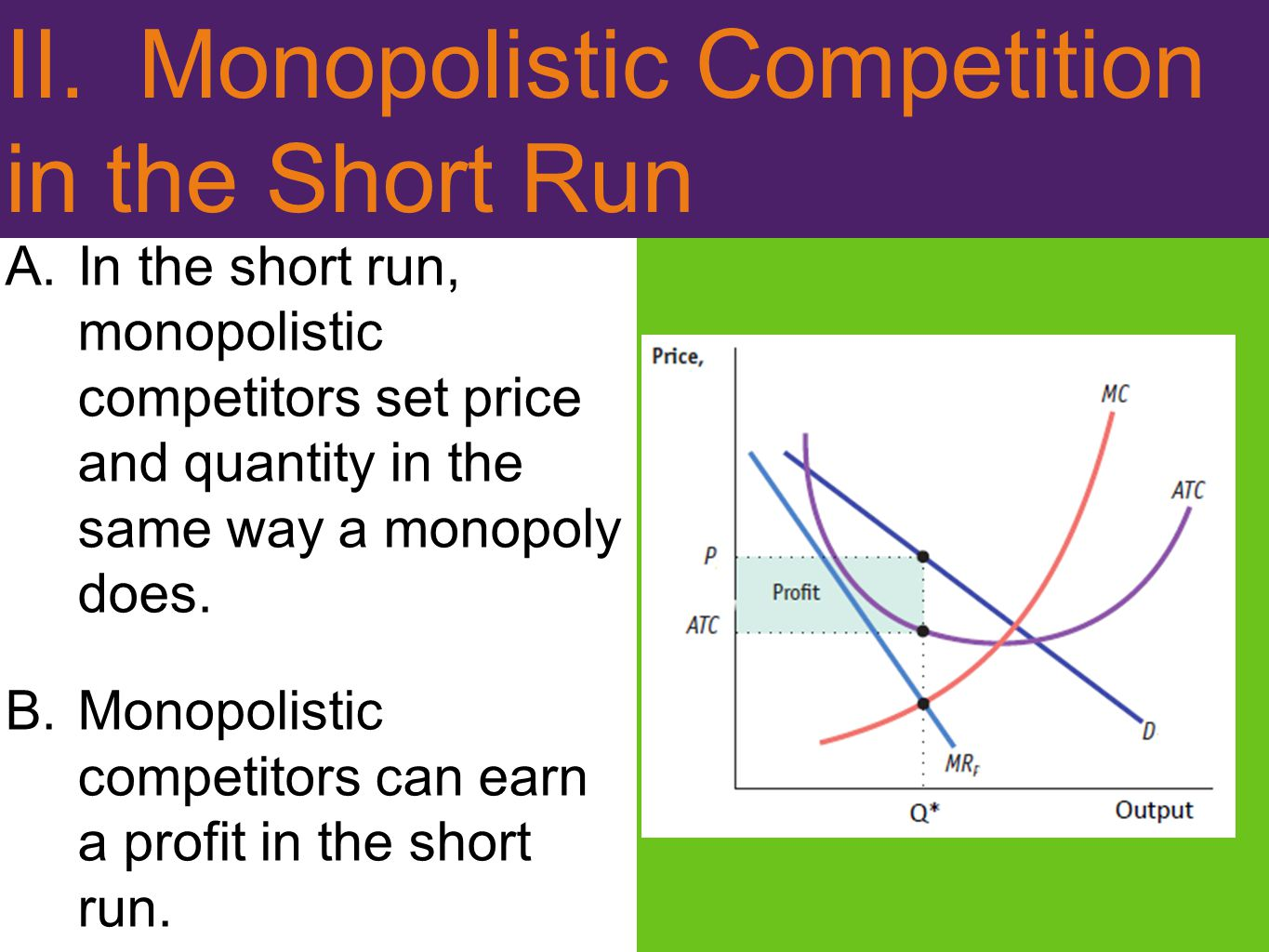 II. Monopolistic Competition in the Short Run