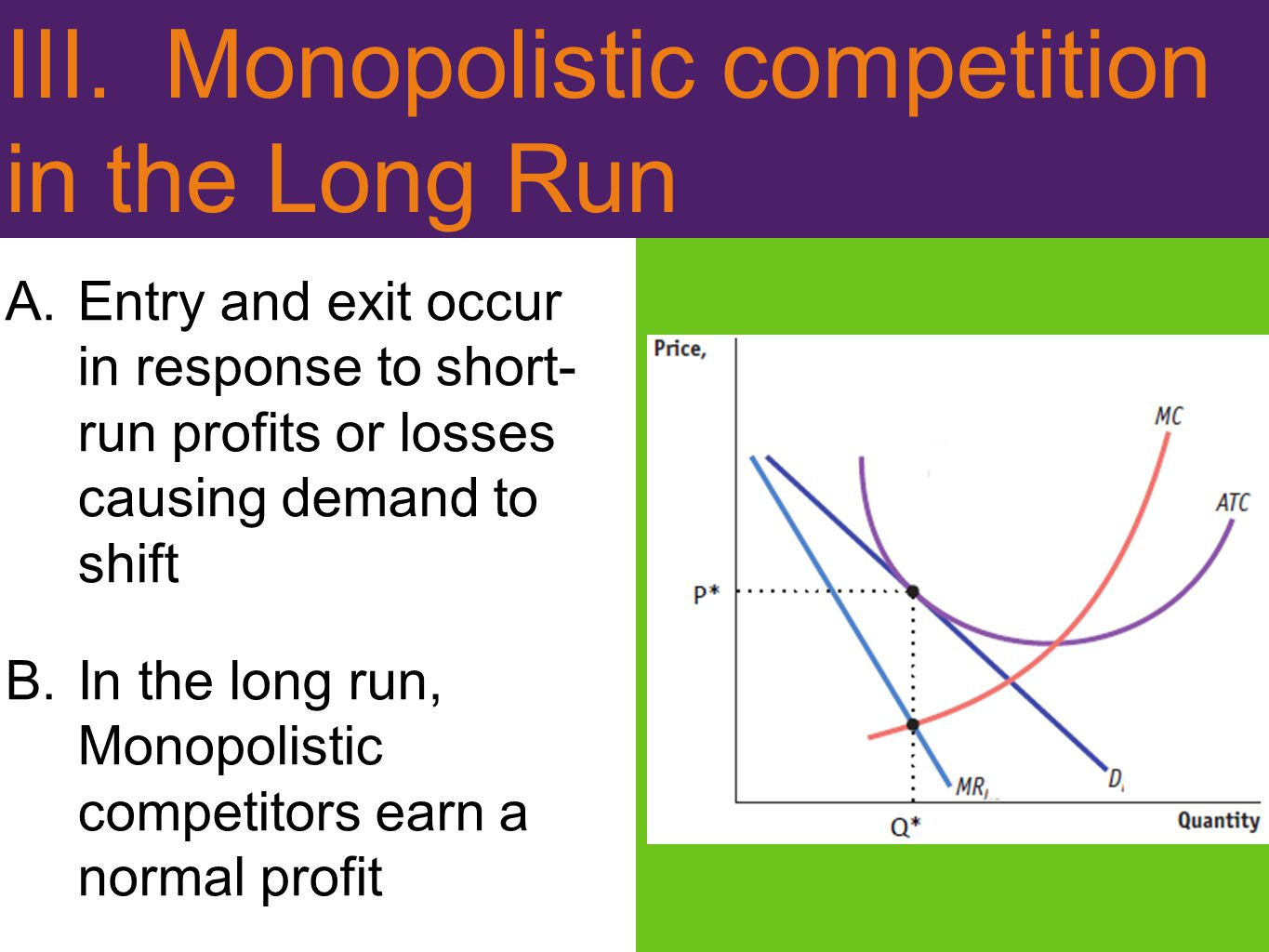 III. Monopolistic competition in the Long Run