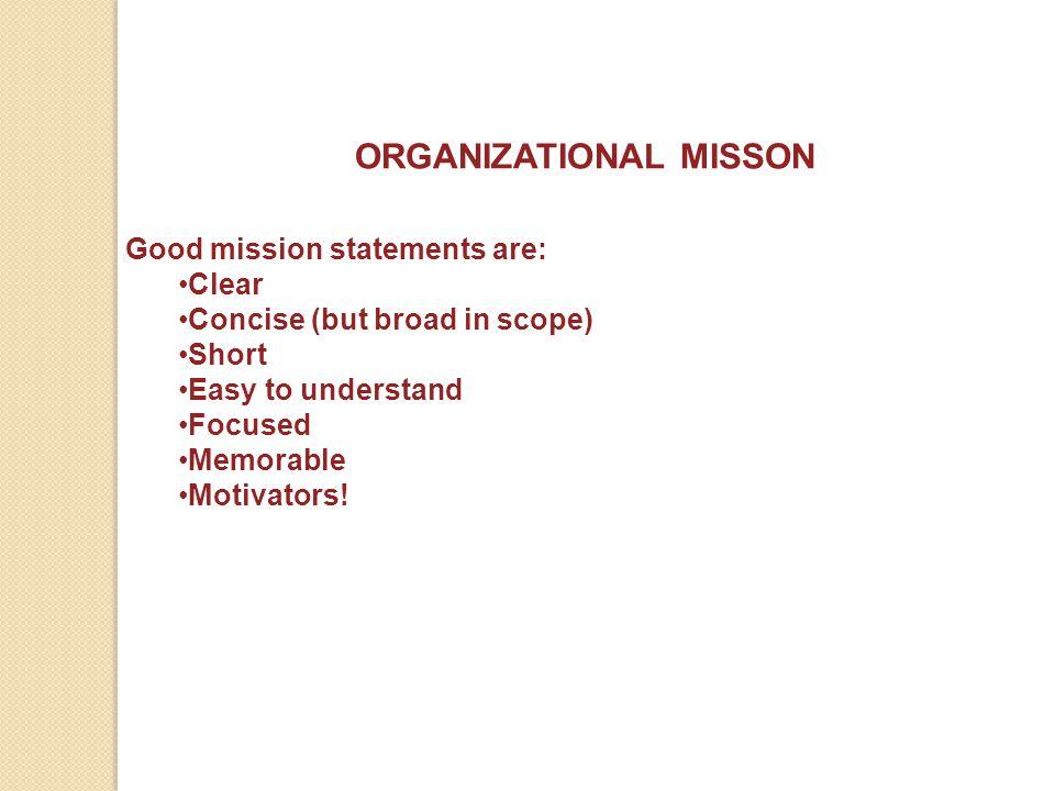 ORGANIZATIONAL MISSON