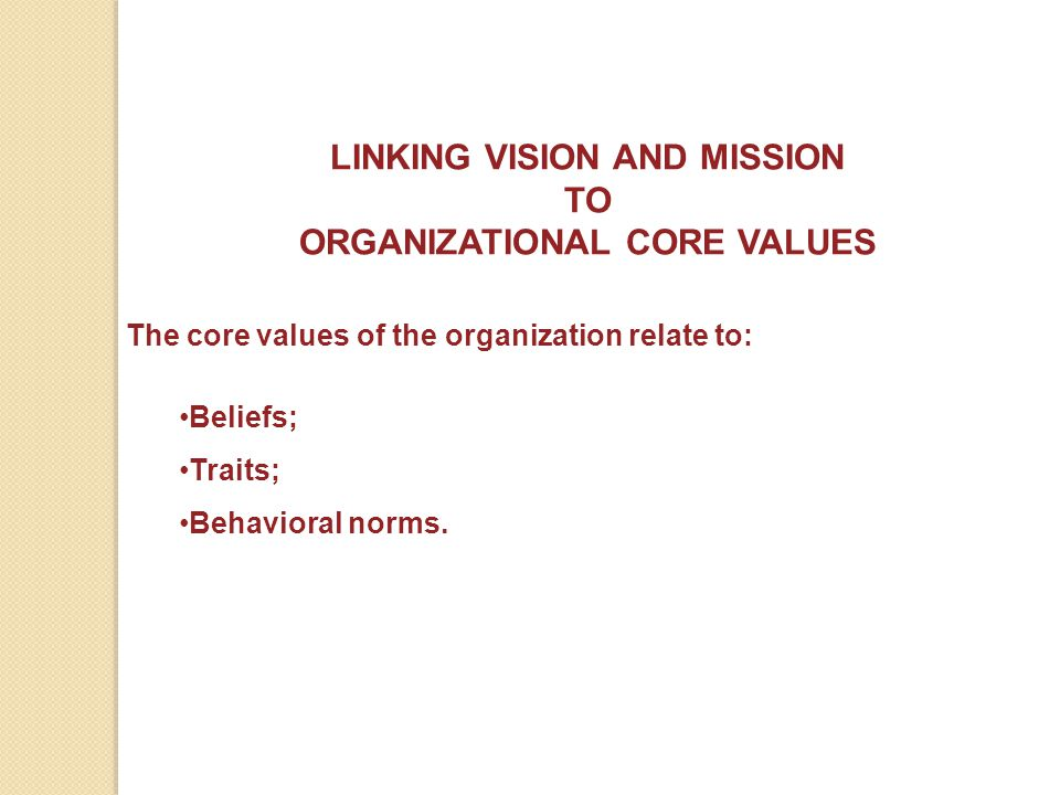 ORGANIZATIONAL CORE VALUES
