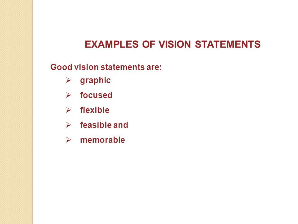 EXAMPLES OF VISION STATEMENTS