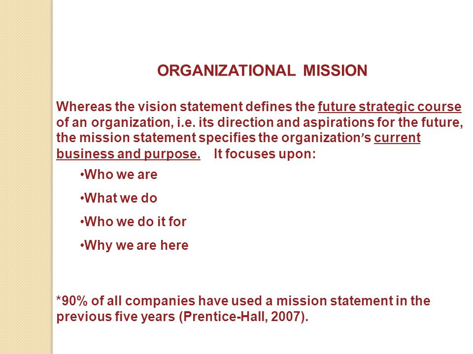 examining the mission vision and value statements of three organizations Further complicating the semantics, different organizations may have mission statements, vision statements, purpose statements, or all three to take one example, quorum health group, inc a hospital management company, differentiates between its mission and vision this way:.