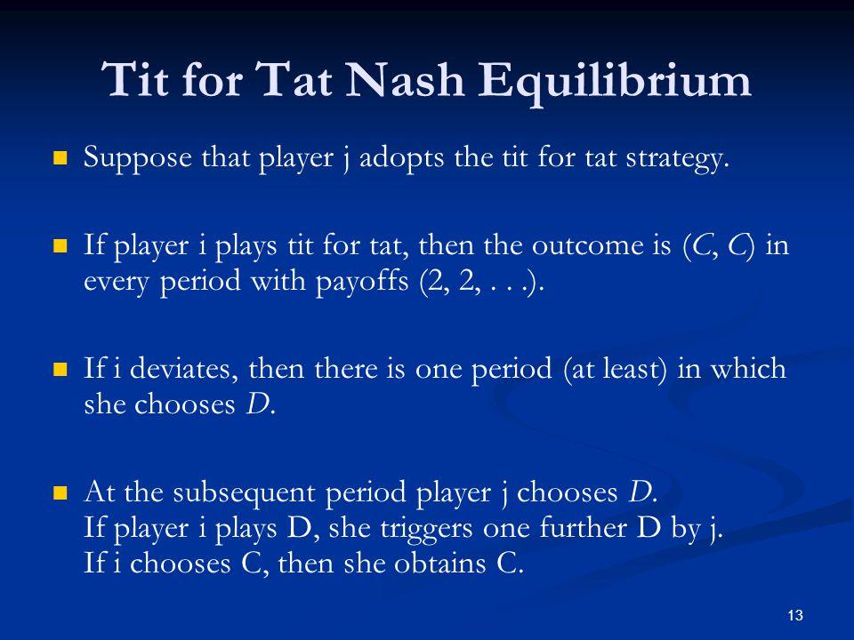 Tit for Tat Nash Equilibrium
