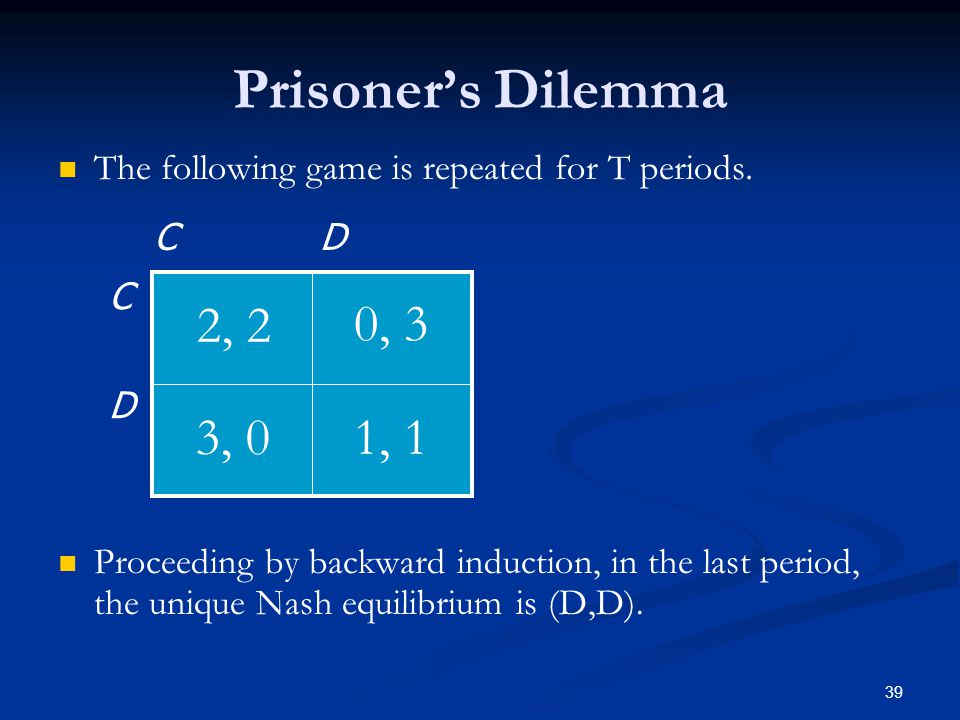 Prisoner's Dilemma The following game is repeated for T periods.