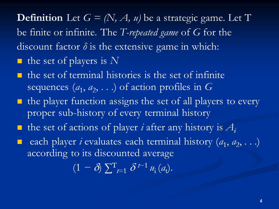 Definition Let G = (N, A, u) be a strategic game. Let T