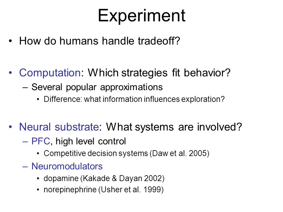Experiment How do humans handle tradeoff