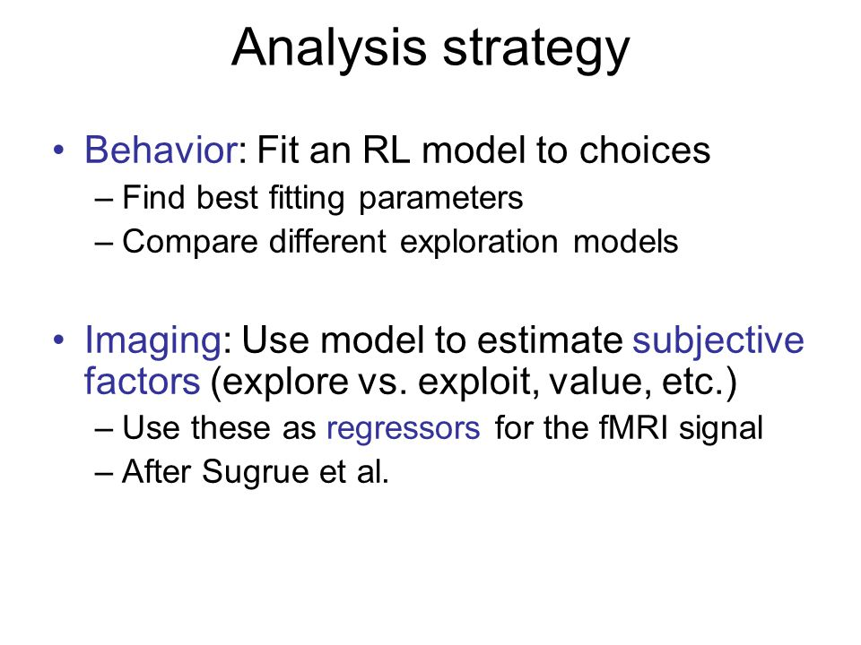 Analysis strategy Behavior: Fit an RL model to choices