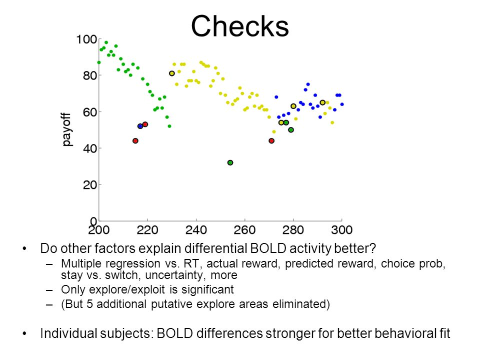 Checks Do other factors explain differential BOLD activity better