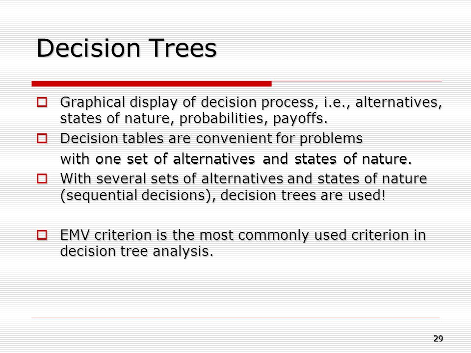 Decision Trees with one set of alternatives and states of nature.