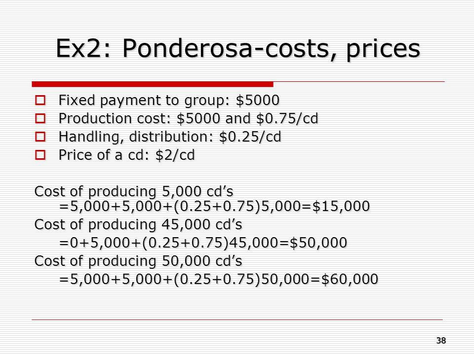 Ex2: Ponderosa-costs, prices