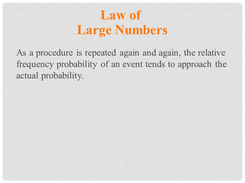 Law of Large Numbers.