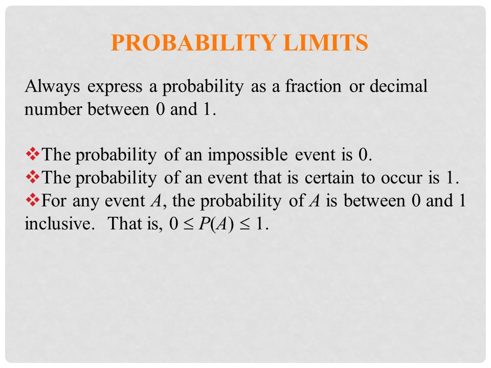 Probability Limits Always express a probability as a fraction or decimal number between 0 and 1. The probability of an impossible event is 0.