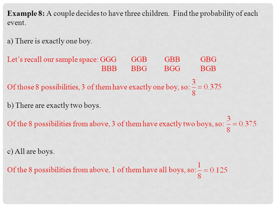 Example 8: A couple decides to have three children