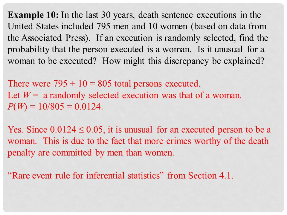 Example 10: In the last 30 years, death sentence executions in the United States included 795 men and 10 women (based on data from the Associated Press). If an execution is randomly selected, find the probability that the person executed is a woman. Is it unusual for a woman to be executed How might this discrepancy be explained
