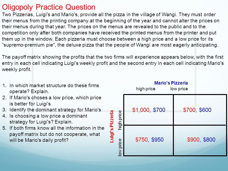 Oligopoly Practice Question