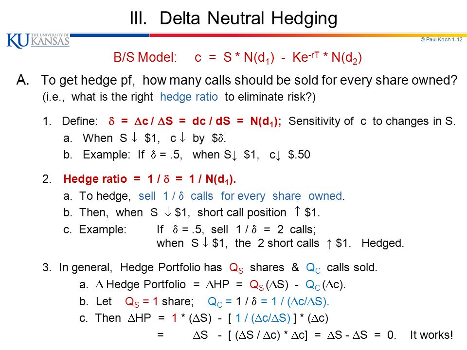 III. Delta Neutral Hedging