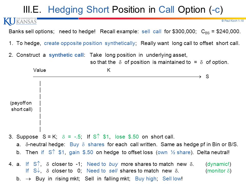 III.E. Hedging Short Position in Call Option (-c)