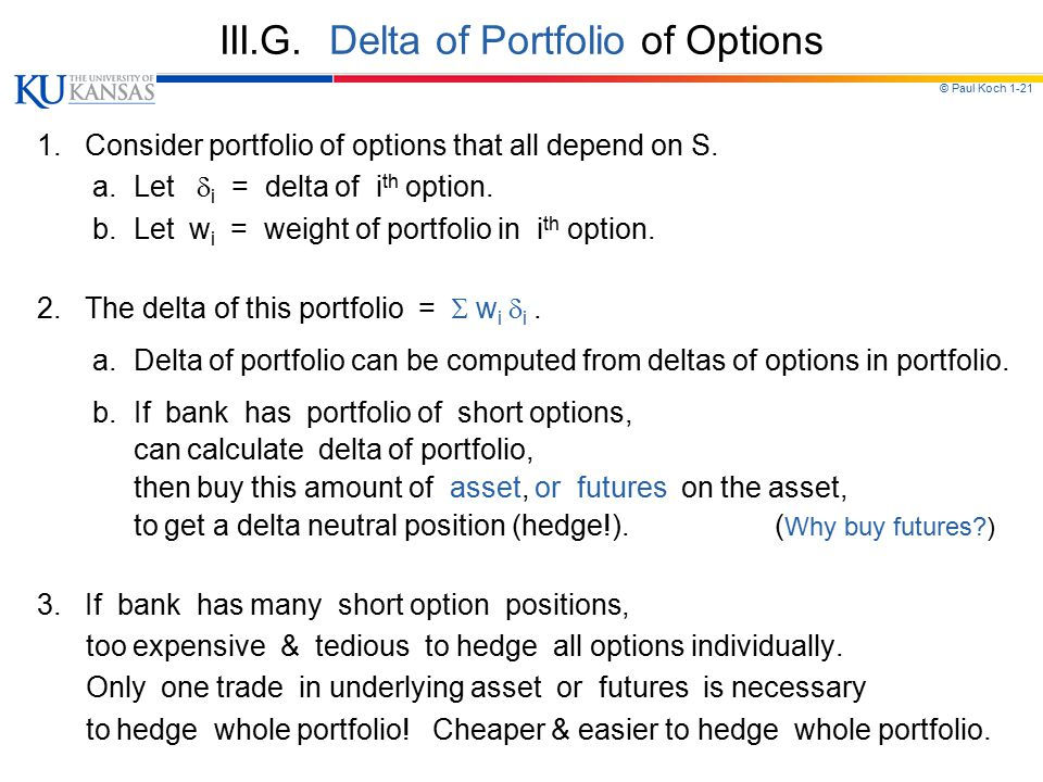 III.G. Delta of Portfolio of Options