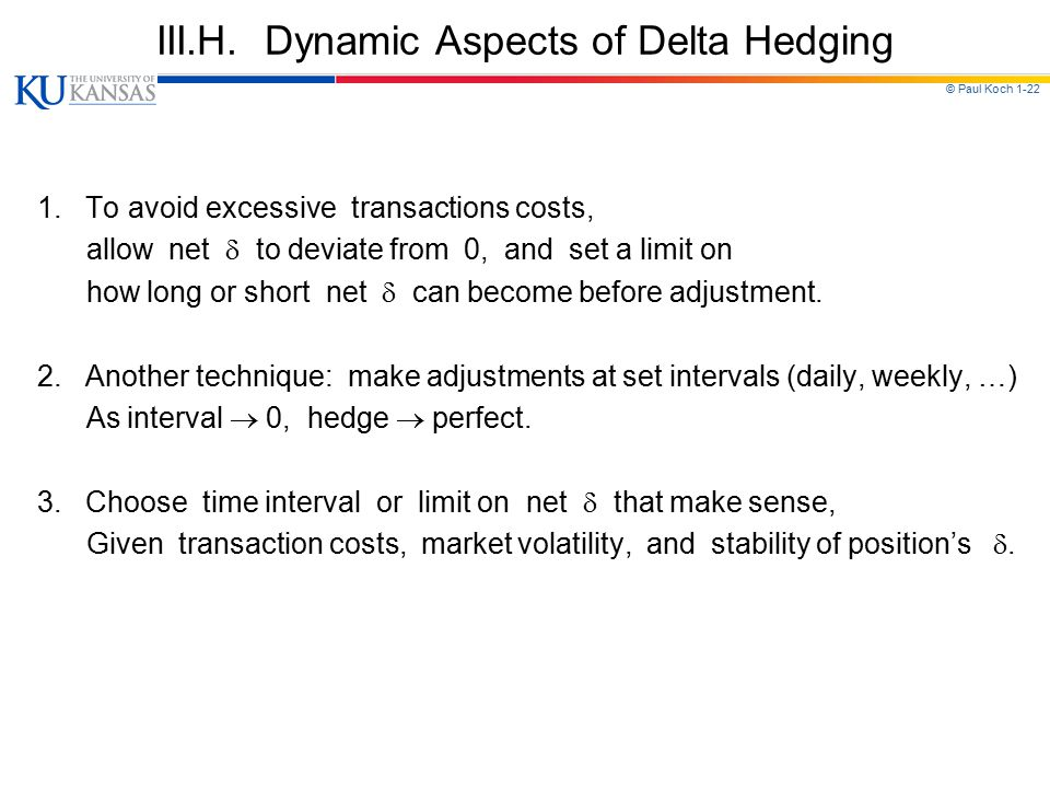 III.H. Dynamic Aspects of Delta Hedging