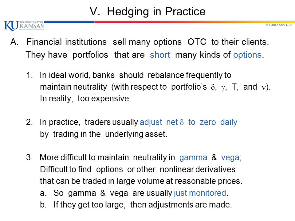 V. Hedging in Practice A. Financial institutions sell many options OTC to their clients.