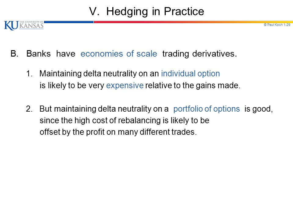 V. Hedging in Practice B. Banks have economies of scale trading derivatives. 1. Maintaining delta neutrality on an individual option.