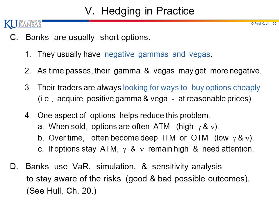 V. Hedging in Practice C. Banks are usually short options.