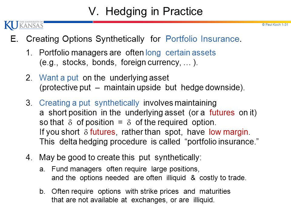 V. Hedging in Practice E. Creating Options Synthetically for Portfolio Insurance. 1. Portfolio managers are often long certain assets.