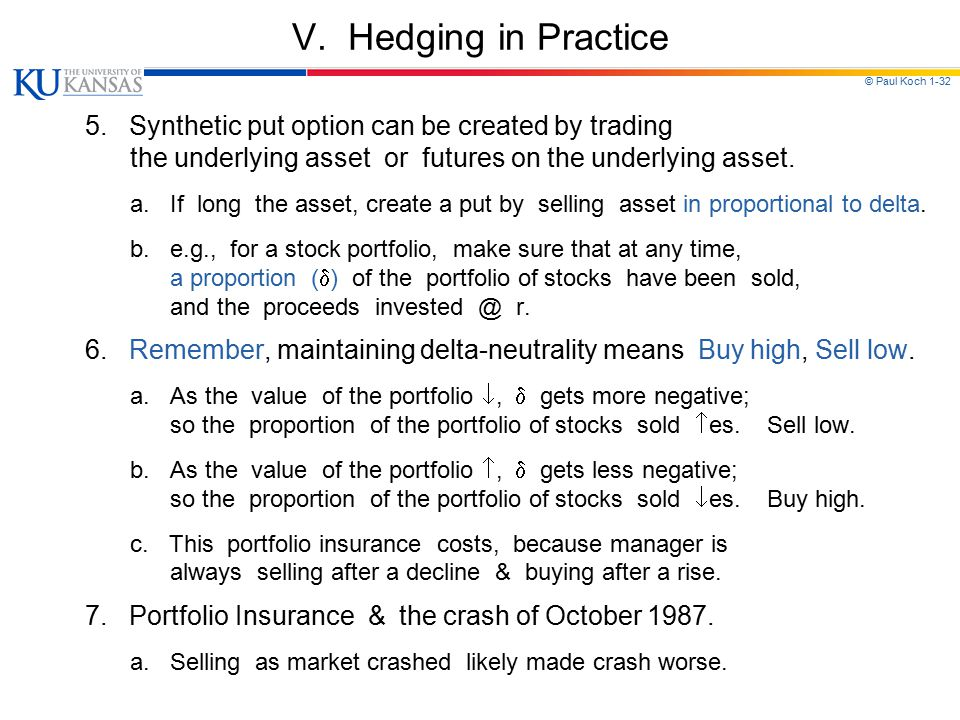 V. Hedging in Practice 5. Synthetic put option can be created by trading. the underlying asset or futures on the underlying asset.