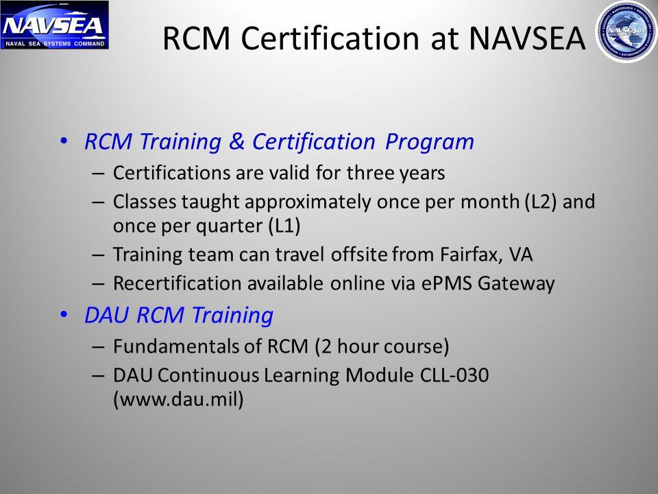 RCM Certification at NAVSEA