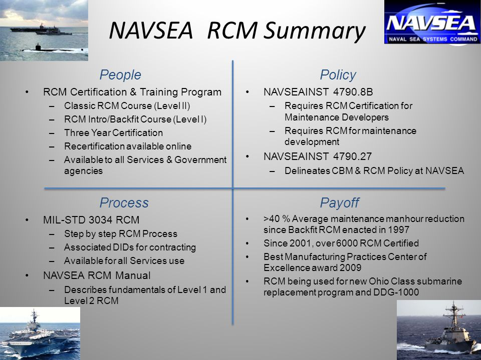 NAVSEA RCM Summary People Policy Process Payoff