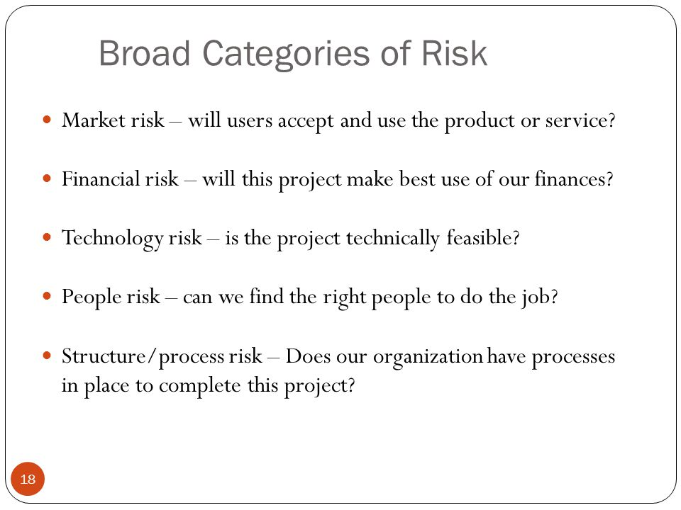 Broad Categories of Risk