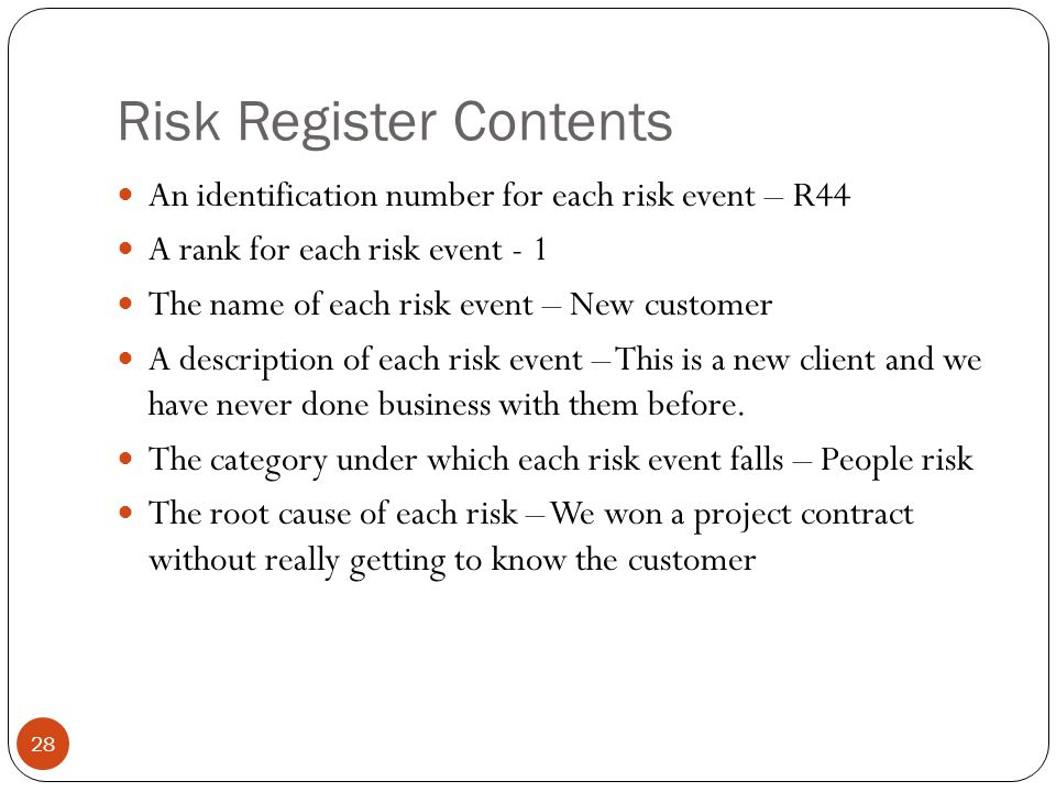 Risk Register Contents