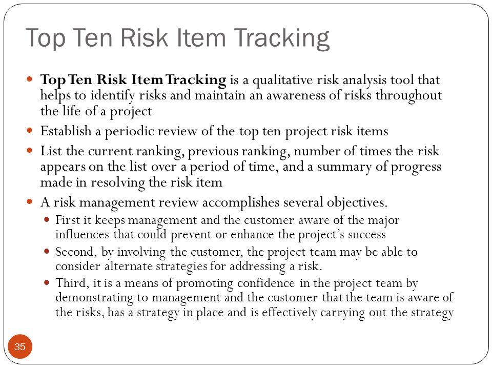Top Ten Risk Item Tracking