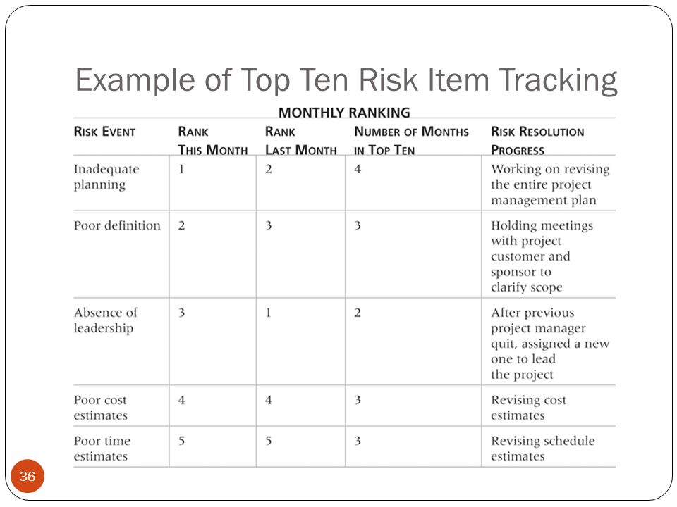 Example of Top Ten Risk Item Tracking