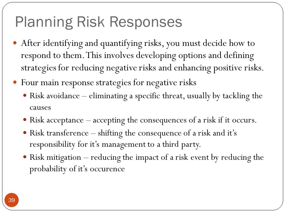 Planning Risk Responses