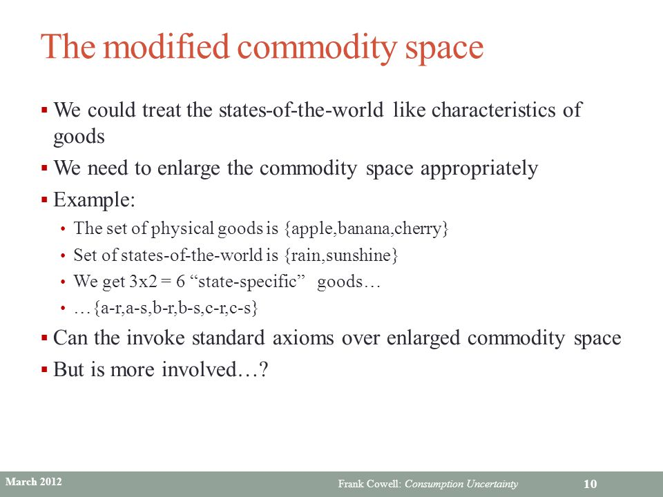 The modified commodity space