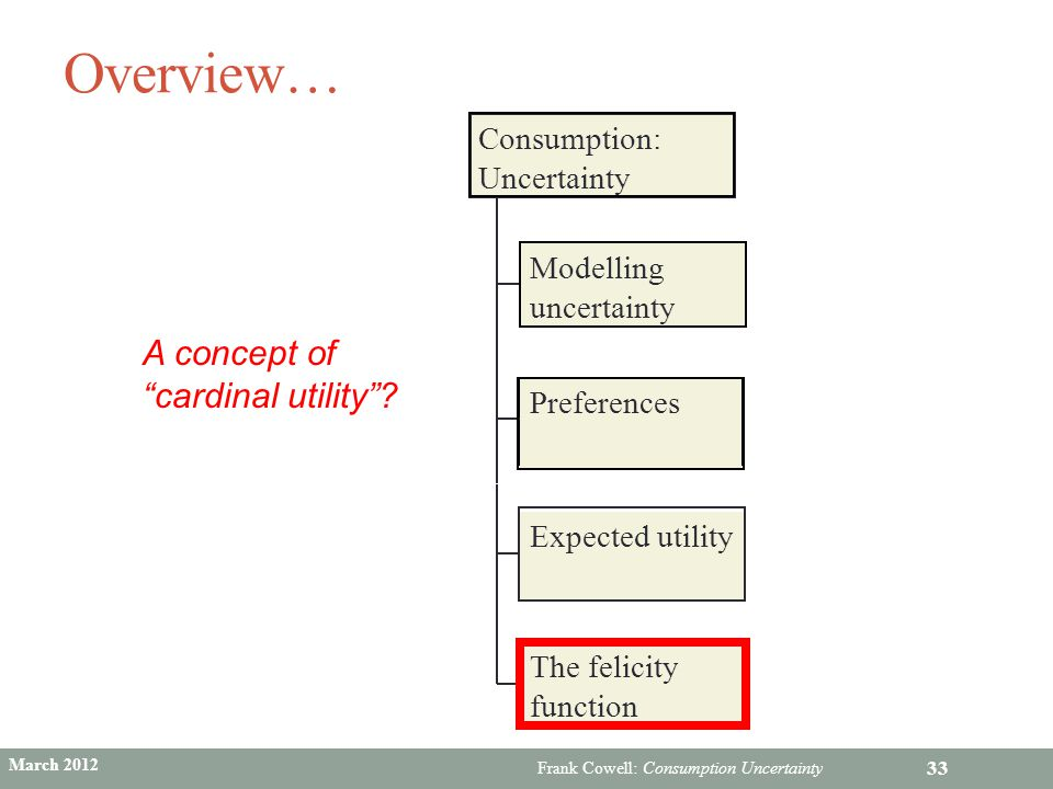 Overview… A concept of cardinal utility Consumption: Uncertainty