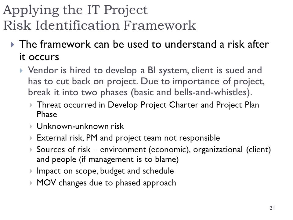 Applying the IT Project Risk Identification Framework