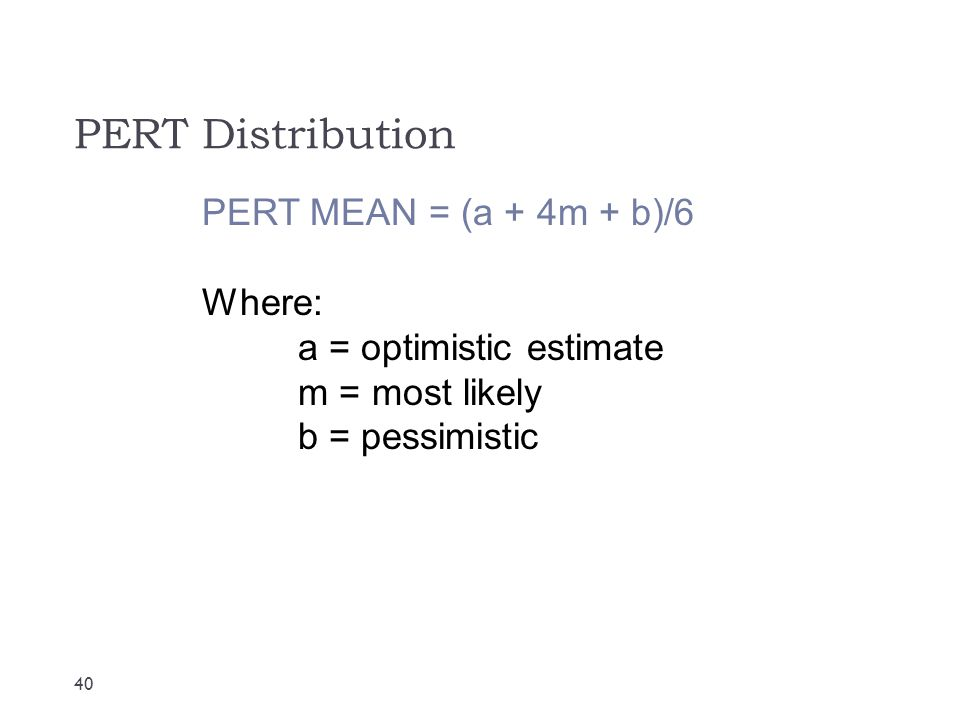 PERT Distribution PERT MEAN = (a + 4m + b)/6 Where: