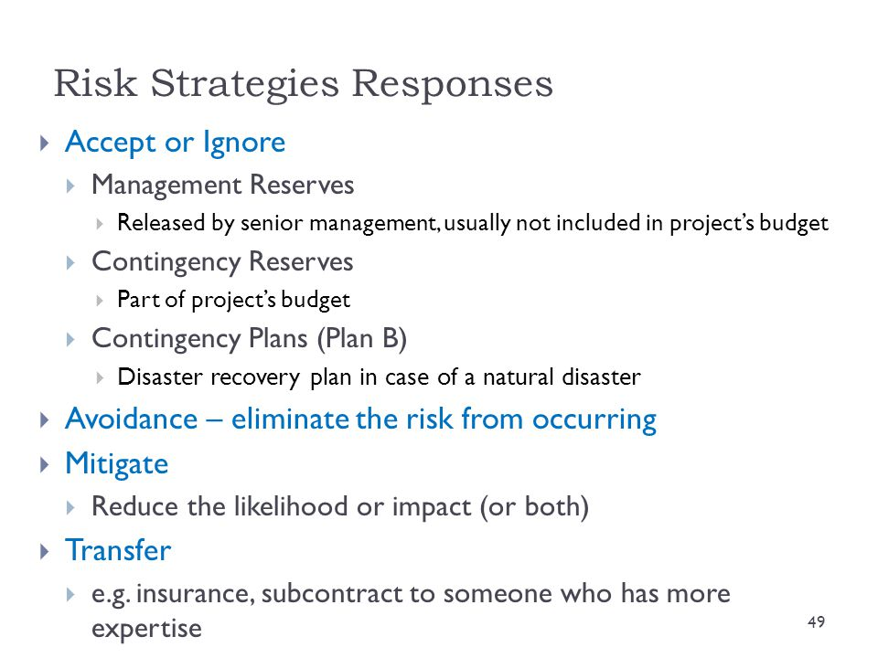 Risk Strategies Responses