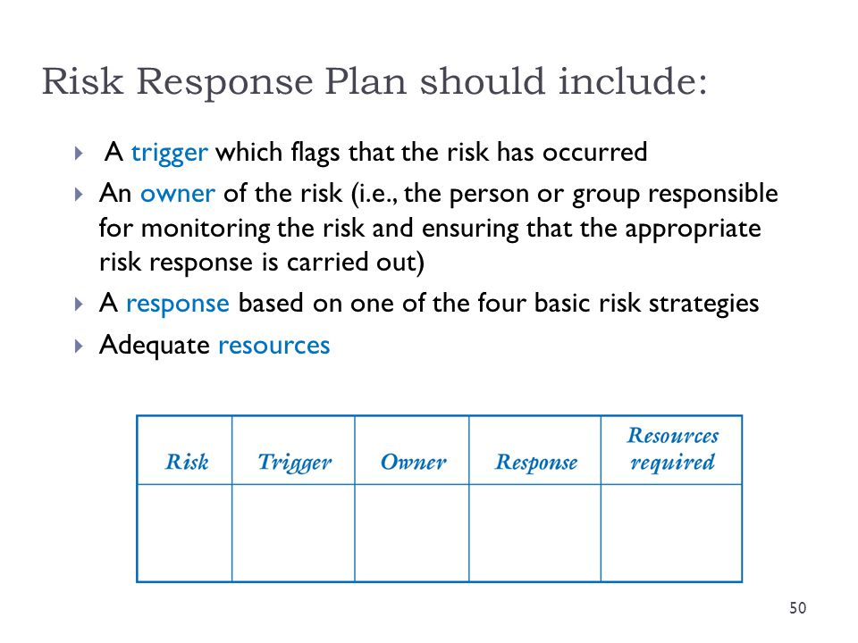 Risk Response Plan should include:
