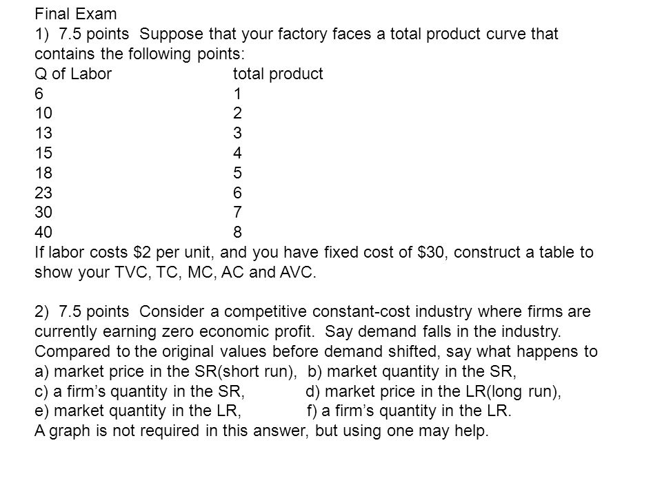 Final Exam 1) 7.5 points Suppose that your factory faces a total product curve that contains the following points: