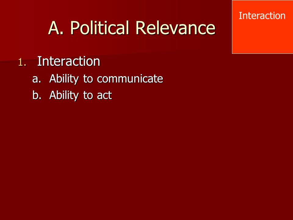 A. Political Relevance Interaction Ability to communicate